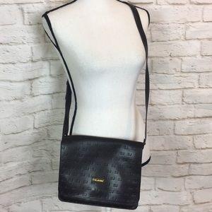 ST JOHN Brown Leather Signature Logo Crossbody Bag